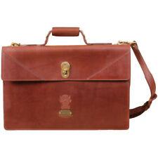 Brown Leather Attache Briefcase Laptop Bag Shoulder Strap Vintage Style USA Made