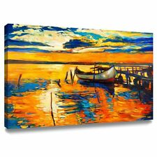 Living Room Wall Art Decor Canvas Oil Painting Sea Boat Sunset Framed Ready Hang