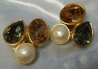 """Vintage Ciner Earrings Large Rhinestones Mabe Pearl 1.25"""" Runway Couture"""