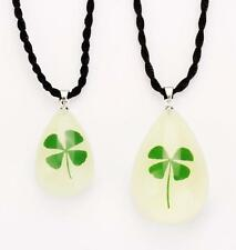 PAIR Real Green Four Leaf Clover Pendant Trendy Glow Cool Necklace NG10