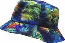 MARIJUANA GALAXY BUCKET HAT WEED LEAF UNIVERSE SPACE PRINT BOONIE CAP FISHING
