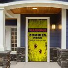 Zombies Inside Halloween Front Door Decor Mural Scary Prop Decor 36x80 Inch