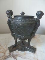 Antique French Cast Metal Cherub/bronze Urn With Original Ceramic Liner REDUCED