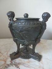 Superb Antique French Cast Metal Cherub/bronze Urn With Original Ceramic Liner