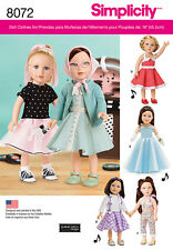 """Simplicity Pattern 8072 VINTAGE INSPIRED 18"""" DOLL CLOTHES 50's poodle skirt"""