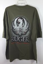 Ruger Metal Logo Rugged Reliable Firearms Men's T Shirt Green Size 3X