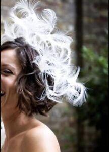 Rachel trevor morgan Wedding Bridal Facinator White Feather Hair piece RRP £600+