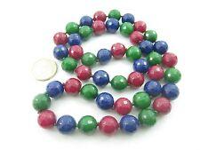 collana pietre annodate senza chiusura di radici in 3 colori sfaccettate 14 mm