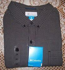Mens Tall Columbia Rapid Rivers Long Sleeve Shirt 3XT BLACK MINI CHECK NWT $55