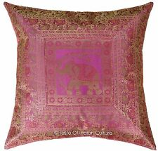"X-Large 26"" Pink Pillow Cushion Cover Silk Brocade Floor Sofa Throw INDIAN Decor"