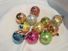 11 Vintage Feather Tree Christmas Ornaments - Balls  - Mica - Indent