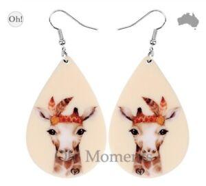 Melbourne Seller! ~ Sweet Giraffe with Headband Boho Big Earrings ~ Q506