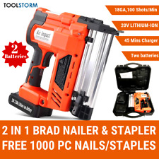 W/2 Battery Brad Nail/Staple Gun 2-in-1 20V Lithium 18ga Framing Nailer Nail Gun