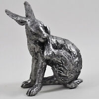Hare Sat Down Antique Silver Ornament Sculpture H11.5cm Wildlife Gift 41098