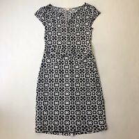 Jane Lamerton Petites Black and White Print Stretch Sheath Dress, Size 10