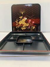 NEW NIB Vintage Japan Lacquerware Covered Serving Divided Platter FLORAL BLK/RED