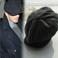 Retro Tweed herringbone Gatsby Cap Hat Mens Ladies Flat 8 Panel Newsboy BakerBoy