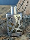 Vintage Sterling Silver Overlay Perfume Flask/Bottle-Mexico