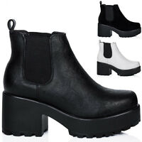 NEW WOMENS BLOCK HEEL CLEATED SOLE PLATFORM CHELSEA ANKLE BOOTS SIZE 3 - 8