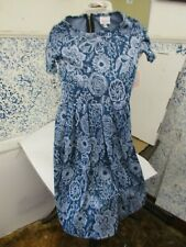 Lularoe Amelia Dress Womens size XXS Teal/Gray Floral  NWT