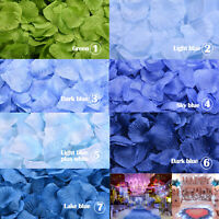 100/300/500/1000pcs Silk Rose Petals MULTI-COLOUR of BLUE Party Wedding Decor