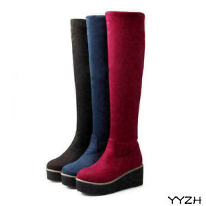 Chic Womens Pull On Platform Shoes Long Boots Wedge Heel Knee High Snow Boots Sz