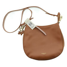 Radley London Pudding Lane Leather Ziptop Crossbody Hobo Bag Purse, Brown
