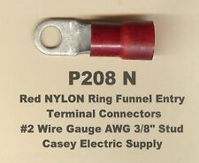 """5 Red NYLON Insulated Ring Terminal Connectors #2 Wire Gauge AWG 3/8"""" Stud MOLEX"""
