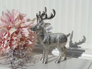 Deko Rentier silberfarben Herbst Winter Weihnachtsdeko Metall Shabby 5x14x18 cm