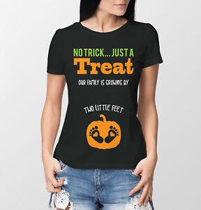 Halloween ladies pregnancy reveal t-shirt no trick just a treat
