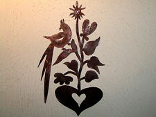 Primitive Early OOAK 18th C. Style Distelfink Floral Heart Tin Quilt Template
