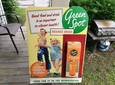 Vintage. Green Spot ORANGE DRINK Store Display Sign with CARTON!!