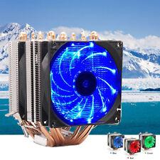 For LGA 1155 775 AMD--Aluminum PC LED Dual Tower FAN CPU Cooler Heatsink 12V DC
