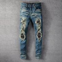 Men's Punk Ripped Knee Splicing PU Patchwork Skinny fit Denim Stretch Blue Jeans