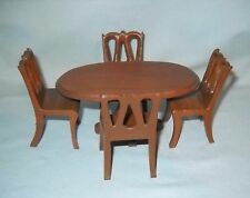 VINTAGE DINING ROOM DOLLHOUSE OVAL TABLE & CHAIRS, NEARLY 1:12 SCALE