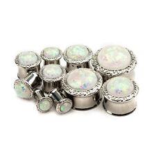 """PAIR-Glittered Opal Gem Steel Double Flare Plugs 16mm/5/8"""" Gauge Body Jewelry"""