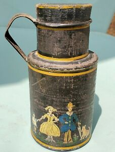 Wonderful 19th Century Decorated Tin Toleware TEA or SPICE Handled Cannister