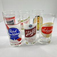 6 Vintage Luminarc Beer Glasses Black Label Miller Ballentine Schafer PBR Bar