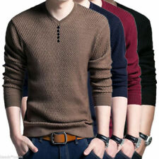 Men V Neck Sweater Long Sleeve Knit T-Shirt Hoodies Cotton Casual Cashmere Tops