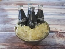 VINTAGE MINIATURE / DOLLHOUSE PLASTIC COCA-COLA BOTTLES IN TIN BUCKET WITH ICE