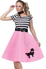 Poodle Skirt Costume Dress Adult 50s 50's Car Hop Soda Pink - M/L 10-14