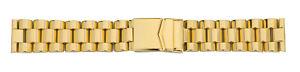 Watchband 3 Glieder-Edelstahlverschlussband Solid Pvd-Vergoldet 20mm18mm