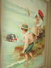 CHARMING VINTAGE CHROMOLITHOGRAPH CHILDREN'S PICTURE DOG SAVING DOLL IN WATER