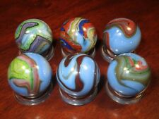6 Collectible Glass Marbles Blue Racer Colorful Swirl Pretty Group 45/64