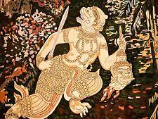 Peinture murale Dieu Hindou HANUMAN SINGE tête Sword Art Poster Print lv6158