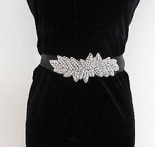 Black Silver Diamante Belt 1920s Flapper Prom Gatsby Vintage Art