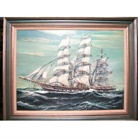 "Untitled (Clipper Ship Under Sail) By Palmer Signed Oil on Canvas Framed 40""x30"""