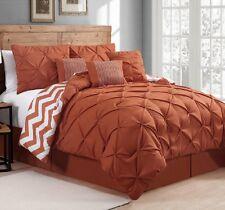 New Luxurious Reversible 7-Piece Comforter Set King Bed Bedding Pintucks Orange