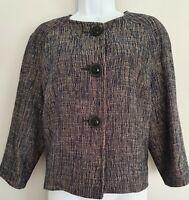 Womens Hobbs Blue Beige Pleat Sleeves Wool Mix Lined Formal Work Jacket 12 New.