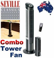 NEW Seville Classics Ultra-Slimline Tower Fan Combo Pack 2 Fans + Remote Control